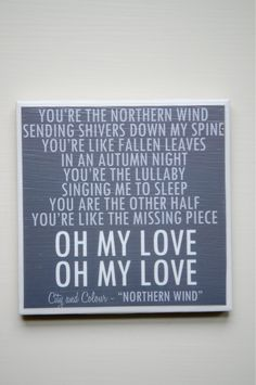 """City and Colour """"Northern Wind"""":  one of my favourite songs :)"""