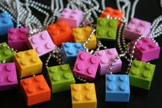 DIY Lego necklaces for a Lego Friends party.