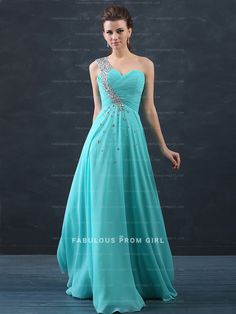A-line One Shoulder Beading  Sleeveless Floor-length Chiffon Prom Dresses / Evening Dresses