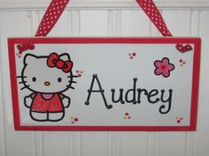 Personalized Handpainted Hello Kitty name door wall wood sign hanger by SassySignsByAndrea, $12.95