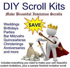 52f9157fe0fd228aa6721998f371bc72 scroll invitation invitation kits scroll invitation 50pc kit perfect for invitation designers,Diy Scroll Invitations