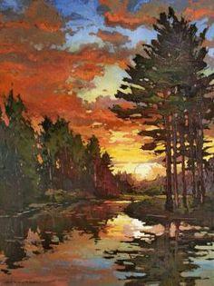 """Dusk On The Pond"" - Jan Schmuckal - oil on canvas✿༻ Abstract Landscape, Landscape Paintings, Painting Abstract, Acrylic Paintings, Paintings I Love, Portrait Paintings, Art Paintings, Tree Art, Painting Inspiration"
