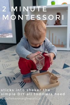 A simple Montessori toddler activity that you can put together in two minutes. This simple activity helps fine motor skills and fosters concentration. Toddler Learning Activities, Montessori Toddler, Montessori Activities, Craft Activities For Kids, Activity Games, Kids Crafts, Montessori Materials, Tot School, Creative Kids