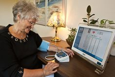Blood-pressure and other health data is transmitted wirelessly to the GrandCare Systems secure server and made available online.