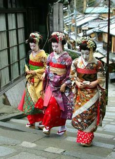 Traditional Japanese Maiko walk in Kyoto in western Japan