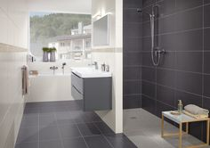 Like: Sink & cabinet, grey tiles Subway 2.0 - Villeroy & Boch