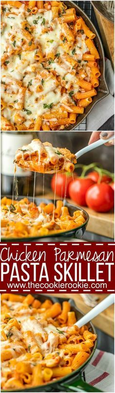 ONE PAN Chicken Parmesan Pasta Skillet, with only 6 ingredients! Over 100k pins....it must be good!