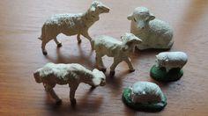 "Vintage 6 Sheep Lamb Nativity Putz Italy 2 1/2"""