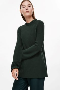 COS image 7 of Ruched neck and cuff jumper in Forest Green
