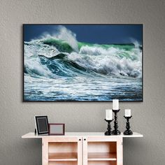 """Latitude Run Double Wave Framed Photographic on Wrapped Canvas Size: 16"""" H x 24"""" W x 2"""" D"""