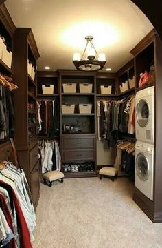 Perfect! Laundry in the master closet!  A must in my new house!!!