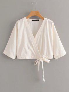 Boho Plain Shirt Regular Fit V neck Long Sleeve Placket Beige Crop Length Self Tie Wrap Blouse Tie Blouse, Wrap Blouse, Wrap Shirt, Beige Style, Summer Shirts, Ladies Dress Design, Blouses For Women, Ladies Blouses, Women's Blouses