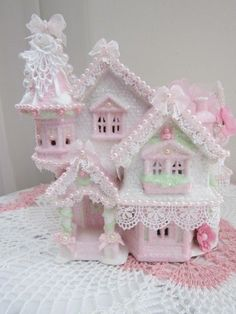 Large CHIC Lighted Pink & Glitter Shabby Christmas Village House