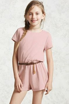 Forever 21 Girls - A knit romper featuring a round neckline with a back button closure and keyhole cutout, short sleeves and an elasticized waist.