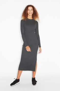 Monki Image 2 of Long sleeve dress in Grey