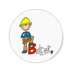 Shop B is for Builder Classic Round Sticker created by stick_figures. Construction Theme, Stick Figures, Round Stickers, Stone Art, Rock Painting, Rock Art, Painted Rocks, Doodles, Clip Art
