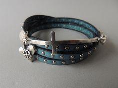 Studded Leather Wrap Bracelet  Silver Cross by DianesAddiction