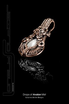 Drops of Avalon Mist - Bostwana and Copper wire wrapped Lonely Soldier Designs Pendant