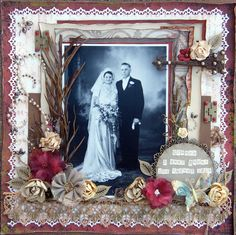 Elemore and Anne, 1945 ~ Richly embellished heritage collage wedding page with punched edges, pearl stud flourishes, dimensional flowers and natural botanical elements.