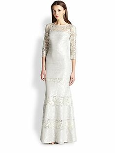 saks fifth avenue FIT-AND-FLARE LACE GOWN