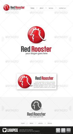 Red Rooster  Logo Design Template Vector #logotype Download it here: http://graphicriver.net/item/red-rooster-logo/8241246?s_rank=571?ref=nexion