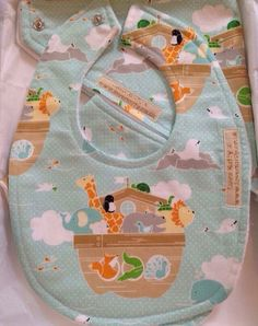 Handmade bib & burp pad gift set noah's ark fabric by LoveNattyx