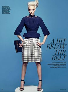 Edgy Peplum Editorials - The How to Spend It A Hit Below the Belt Photoshoot Stars Nastya Kusakina (GALLERY)