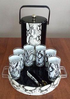 Vtg! MCM Georges Briard Snake Skin Barware Set Glasses Ice Bucket Tray w/Lucite