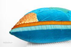 """Mermaid Pillow. Turquoise Velvet Pillow. Blue Pillow. Beach Pillow. Silk Decorative Pillow. Throw Pillow. Turquoise Pillow. 19 x 21"""" Handmade. #Turquoise #TurquoisePillow #Round Pillow #Turquoisedecor #Turquoisehome #Turquoise #Home #DecorativePillows #ThrowPillows #AccentPillows #Homedecor #Housewares #Pillowcovers #Design #Homedesign #Art #FunctionalArt #FamilyRoom #DesignerPillows #BedPillow #CouchPillow #BeautifulHome #PillowCover #Mermaid #Mermaidpillow #Bluevelvet #Bluehomedecor"""