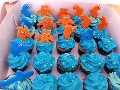 Cupcakes en crema y aplicaciones en fondant animalitos del mundo acuático