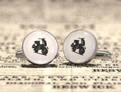 VESPA Fashion cufflinks - Design icon cuff links - Perfect made in Italy accessory for a chic man. by GothChicAccessories on Etsy https://www.etsy.com/listing/130541368/vespa-fashion-cufflinks-design-icon-cuff