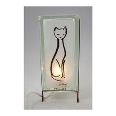 Cat lamp glass block lamp FREE SHIPPING upcycled handmade glass block... (€69) via Polyvore featuring glowblocks