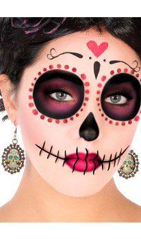 Costume Ideas Mexican Catrina Earrings Wedding Guest Favors – It's Not the Price Tag That Counts Wed Sugar Skull Halloween, Cute Halloween Makeup, Halloween Skull, Sugar Skull Costume, Halloween Costumes, Skull Makeup Tutorial, Dead Makeup, Sugar Skull Makeup, Candy Skulls