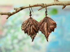 Electroplated Real Leaf Jewelry by Dolgova Svetlana on Etsy