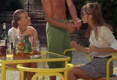 "goregirlsdungeon: ""Romy Schneider, Alain Delon and Jane Birkin in La piscine (The Swimming Pool) directed by Jacques Deray "" Jane Birkin, Romy Schneider, Labo Photo, Gainsbourg Birkin, Retro, Italian Summer, Old Money, Film Inspiration, Film Aesthetic"