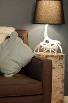 Gorgeous Antler Lamp - White Faux Taxidermy. $200.00, via Etsy. - That is the most badass lamp I have ever seen.