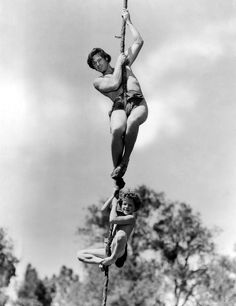 Johnny Weissmuller & Johnny Sheffield publicity photo for Tarzan Finds a Son! (1939)