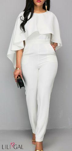 92f24c58354c All White Ruffle Overlay Cape Jumpsuits For Women Open Back White Zipper  Back Cloak Jumpsuit