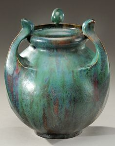 Important, round enamelled stoneware vase with three curved handles. Enamelled signature .Dalpayrat.. Circa 1900. H : 12 . in