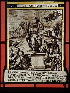 Réunion des Musées Nationaux-Grand Palais - Musée d'Ecouen, vitraux - Allégorie de la Vertue. Ec.158. France, 2° moitié du 16°s. Grisaille.