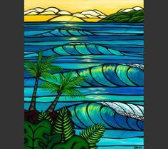 Sunset Swell - The setting sun glowing through the breaking waves of at Sunset Beach on the North Shore of Oahu Hawaii by Hawaii surf artist Heather Brown