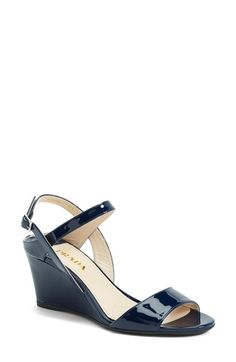 """Free shipping and returns on Prada Quarter Sandal (Women) at Nordstrom.com. <p><B STYLE=""""COLOR:#990000"""">Pre-order this style today! Add to Shopping Bag to view approximate ship date. You'll be charged only when your item ships.</b></p><br>3"""" heel (size 35.5).<br>Adjustable ankle strap with buckle closure.<br>Leather upper and lining/synthetic sole.<br>By Prada; made in Italy.<br>Salon Shoes."""