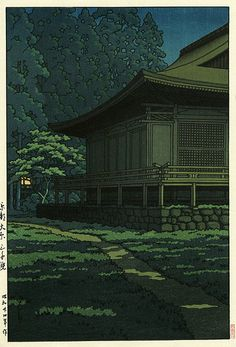 Kawase Hasui, Moonlight at Sanzenin Shrine, Kyoto, 1949 Japanese Painting, Japanese Prints, Art Occidental, Japanese Woodcut, Art Asiatique, Japanese Illustration, Art Japonais, Japan Art, Arquitetura