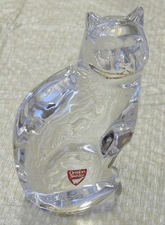 "Vintage Orrefors 5"" Crystal Art Glass Cat"
