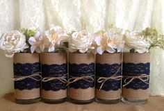 5 Navy blue burlap and lace covered glass vase, wedding, bridal shower, baby shower, home decoration by PinKyJubb on Etsy