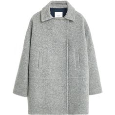 Mango Pockets wool coat (£55) ❤ liked on Polyvore featuring outerwear, coats, clearance, grey marl, mango coat, wool coat, long sleeve coat, gray wool coat and gray coat