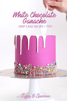 Chocolate Ganache Drip Cake Recipe My favorite recipe for drip cakes with white chocolate ganache all my best tips for success Sugar Sparrow My favorite recipe for dri. Cake Decorating Techniques, Cake Decorating Tips, Cookie Decorating, Cake Decorating For Beginners, Cake Icing, Eat Cake, Cupcake Cakes, Candy Cakes, Fun Cakes