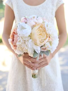 Silk Bride Bouquet Cream and Pale Pink Roses and by braggingbags