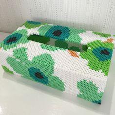 Marimekko-style tissue box cover perler beads by k-chippy Pony Bead Patterns, Perler Patterns, Beading Patterns, Cross Stitch Patterns, Tissue Box Covers, Tissue Boxes, Kleenex Box, Beaded Boxes, Melting Beads
