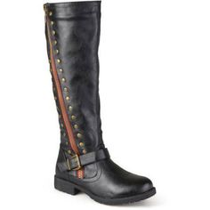 Brinley Co. Womens Zipper Studded Riding Boots, Black